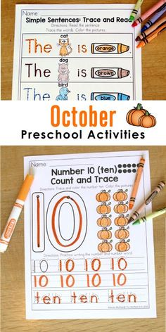 Fun preschool activities for October to teach numbers, letters, shapes, colors and more!