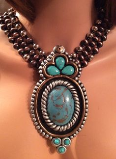 Maverick Rose Jewelry's stunning new necklace for the upcoming August Western Market in Dallas - #dallasmarketcenter #resinjewelry #handmade #turquoise