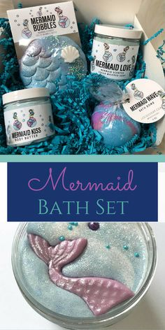 MERMAID LOVE BATH set | whipped soap | bath bomb | bubble bar | body butter | mermaid set | mermaid gift | gift set | bath box | spa set | #affiliate #mermaid