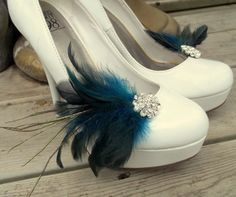 Bridal Feathered Shoe Clips  set of 2  Sparkling by ShoeClipsOnly, $34.00