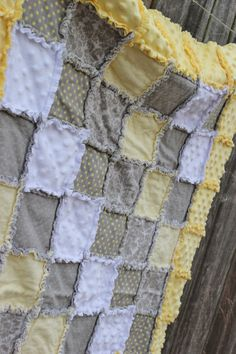 Yellow & Gray Rag Quilt/Blanket Damask Pokda Dot by BabyBazerk, $75.00