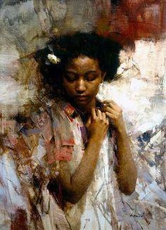 Artist: Richard Schmid {figurative pretty african-american black girl painting}