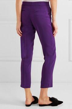 Etro - Capri Cropped Crepe Slim-leg Pants - Purple - IT50