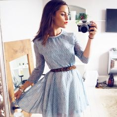 wears the skinny leather cowhide belt Amy Spencer, Powder Blue Dress, Deliciously Ella, Skinny Belt, Get The Look, Leather Men, Black And Brown, Luxury Fashion, Style Inspiration
