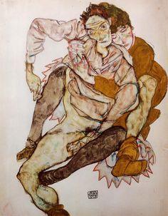 Egon Schiele, Seated Couple (Egon and Edith Schiele), 1915