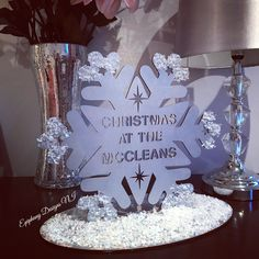 Snowflake-Christmas at the surname - freestanding with glitter and snow detail Christmas decor By Epiphany Designs NI