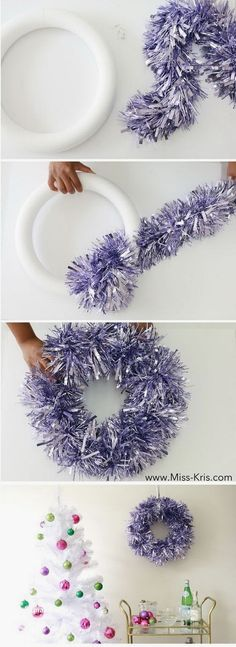Festive DIY Christmas Wreaths with Lots of Tutorials - For Creative Juice : DIY Glam Garland Wreath. Christmas Design, Christmas Holidays, Christmas Wreaths, Christmas Crafts, Christmas Ornaments, Christmas Tree, Christmas Vacation, Christmas 2019, Christmas Ideas