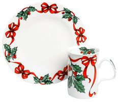 Holiday Ribbon Plate - Fine Bone china designed by Roy Kirkham, made in England with a festive holiday design scheme. 7