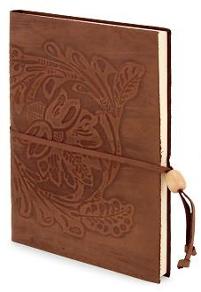 Chocolate Embossed Damask Italian Leather Lined Journal with Bead Tie
