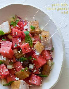 Watermelon, feta, and pork-belly salad by Spoon, Fork, Bacon. Good way to get the guys to eat some healthy food. Lol!