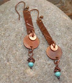 Embossed Copper Earrings with Gemstone by SunStones on Etsy $9.95