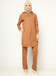 Hooded Tracksuit Set - Tan - Allday
