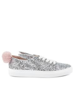 Silver Glitter Bunny Tail Sneakers