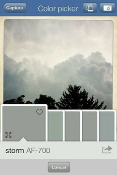 The Benjamin Moore color app allows you to take pictures and then tells you what Benjamin Moore color matches the colors in the picture.