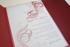 Red gatefold invitations