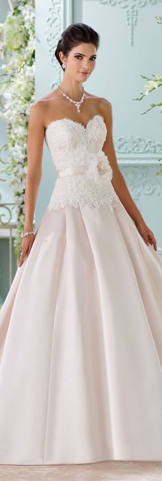 The David Tutera for Mon Cheri Spring 2016 Wedding Gown Collection - Style No. 116215 Lucienne #satinandlaceweddingdress