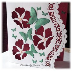 Floral & Butterfly birthday card, apertures, spellbinders curved border, memory box iceland poppy & sizzix butterfly dies