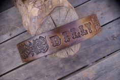 Western Embossed Name on Tooled Leather Dog by OutlawLeatherUSA