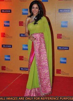 Sridevi plain georgette Designer saree In Neon