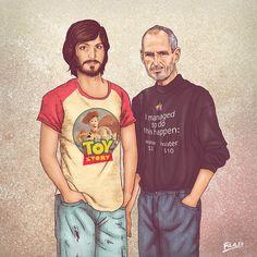 Finado Steve Jobs aparece de um lado com camiseta do filme 'Toy Story', do estúdio Pixar, comprado pela Apple, e do outro em versão adulta, pouco antes de sua morte (Foto: Behance/Fulaleo)