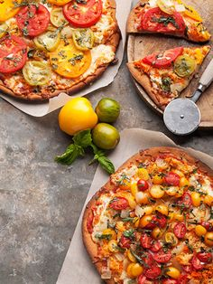 heirloom tomatoes, zuchini, carrots and summer squash-try it on whole wheat pizza dough