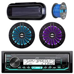 Cover with pair Enrock 6.5 White Stereo Speakers JVC In-Dash Marine Boat Bluetooth Radio USB CD Receiver Bundle 18g 50ft Marine Speaker Wire Cover with pair Enrock 6.5 White Stereo Speakers Enrock JVC Pyle KDR99MBS EM602B EMC56W
