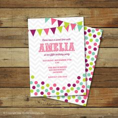 candy birthday party invitation  modern sweet by saralukecreative, $15.00