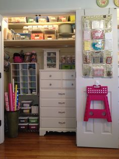 """Pinner wrote, """"My craft closet- finally! Debbie is queen of organization!""""--I love the idea of a ready to reach step stool!!!!"""