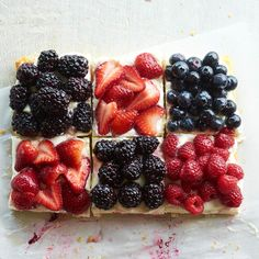 Berry Patchwork Tart  Refreshing summer berries are piled high atop this 4th of July dessert tart. Get your red, white, and blue from strawberries or raspberries, mascarpone cheese, and blueberries or blackberries.