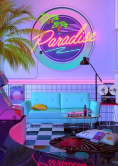 Paradise Wave Aesthetic Nostalgia, A Retro Design That inspired by synthwave , retrowave and vaporwave style. Dreamlike Artwork by dennybusyet New Retro Wave, Retro Waves, Neon Aesthetic, Aesthetic Bedroom, Aesthetic Makeup, Neon Licht, Neon Room, Retro Room, Photo Vintage