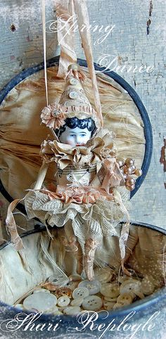 Spring Dance assemblage art spool doll by Shari Replogle