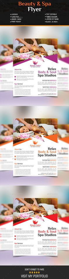This is a Beauty Stationery Printing, Flyer Printing, Stationery Design, Print Templates, Psd Templates, Design Templates, Spa Brochure, Soul Spa, Spa Studio