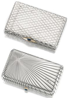 PROPERTY OF A MEMBER OF THE PRUSSIAN ROYAL FAMILY: Two silver cigarette cases. The first Pavel Volkov, Moscow, 1899-1908, the surface of raised chevrons, with tinder cord channel and vesta compartment, the gilt interior engraved 'To G. S. Arbuthnot from Budhyai (?)/ Nov 1902'; the second with maker's mark I.K. (Cyrillic), St Petersburg, 1908-1917, the surface of reeded sunburst pattern; both with sapphire thumbpieces. Vice Admiral Sir Geoffrey Arbuthnot was Aide-de-Camp to King George VI.