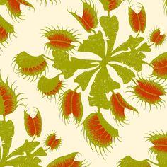 Venus Flytrap - butter fabric by thecalvarium on Spoonflower - custom fabric