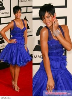 Rihanna in Zac Posen Blue Dress.  It's very different,  but I like it, especially the color and the length!