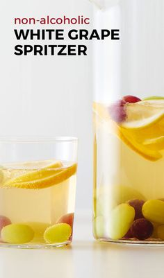 Non-Alcoholic White Grape Spritzer. Instead of diluting your drink with ice, make your garnish do double duty! Frozen grapes keep the pitcher cold and making a gorgeous drink, too. Such a fun hack for your party drink everyone can enjoy.