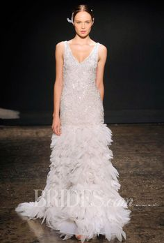 Brides.com: Lazaro Fall 2014 V Neck Ruffled Wedding Dress | Click to see more from this collection!