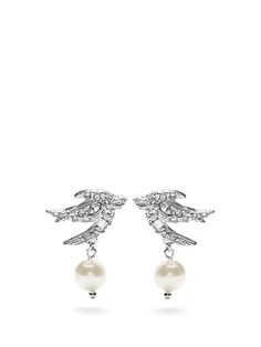 The swallow is a recurring motif throughout Miu Miu's collections. These silver-tone earrings are crafted in Italy with sparkling Swarovski crystals, and finished with pretty faux-pearl drops. Wear them with off-duty pieces and evening dresses alike. MATCHESFASHION.COM AU
