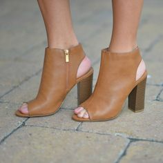 2e62908ea6 Step By Step Tan Block Heel from Cousin Couture. Tan Block Heels, Dress  Flats