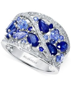 Achieve brilliance with this lavish ring from Effy. Featuring fancy-cut sapphire (3-1/8 ct. t.w.) offset by round-cut diamonds (1/4 ct. t.w.). Crafted in 14k white gold. | Photo may have been enlarged