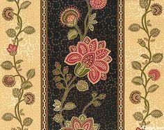 NCLABEBK  La Belle - Crewel Flower Stripe - Black