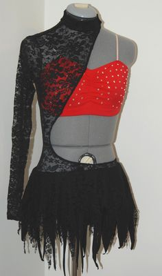 Purchase at   www.glitzagain.com   Used Competitive Dance Costumes, Red, Black Lace, Rhinestones, Glitz, Glitter, Fun, Girly, Dancer, Contemporary, Lyrical #danceoutfits