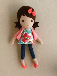 Fabric Doll Rag Doll Brown Haired Girl in Floral Top with Coral Cardigan and Denim Leggings
