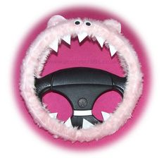 cute Fluffy pink monster steering wheel cover faux fur googly eyes and teeth fuzzy furry fun for car truck suv van jeep 4x4 dragon girly girl car accessories