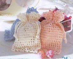 crochet wedding favor bags