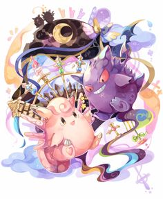 Clefairy and Gengar Fotos Do Pokemon, All Pokemon, Pokemon Stuff, Pokemon Original, Powerful Pokemon, Cute Pokemon Wallpaper, Japanese Games, Pokemon Trading Card, Pokemon Pictures