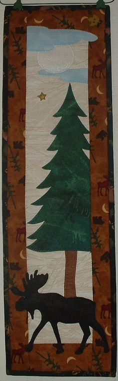 Moose on the Loose  Quilted Lodge Style Wall by JenKariArts