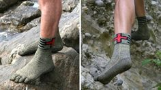 Swiss Protection Socks, they're part of a new range from the Swiss Barefoot Company. But it's not just the toes that make these socks unique, it's the fact that they don't need to be worn with shoes. Yep, you simply put them on and go for a stroll, a run or even hike up a mountain.