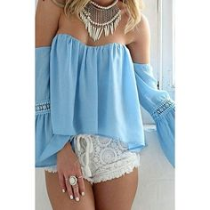 Light Blue Off Shoulder Flare Sleeve Sexy Crop Top ($19) ❤ liked on Polyvore featuring tops, bell sleeve crop top, sexy tops, summer tops, light blue crop top and off shoulder tops