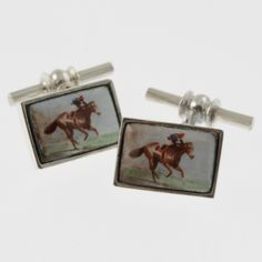 Vintage style sterling silver cufflinks with a racing horse and jockey in blue and red by Sky with Diamonds   Sky with Diamonds http://skywithdiamonds.com.au/collections/cufflinks/products/vintage-style-sterling-silver-cufflinks-with-a-racing-horse-and-jockey-in-blue-and-red